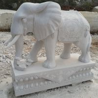 供应汉白玉石雕大象雕刻曲阳厂家定做做