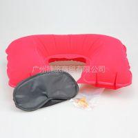 供应佳途旅游三宝套装 耳塞+眼罩+充气枕盒装 植绒U型颈枕三件套红色