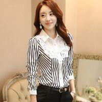 2015春季新款韩版大码修身显瘦打底衫条纹雪纺衬衣百搭长袖女衬衫