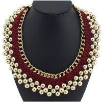 速卖通货源 新款热销欧美复古手工编织金属珠珠夸张编制项圈项链