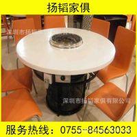 厂家定做酒店家具 现代家庭适用大理石餐桌 刷刷锅一体火锅桌