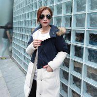 平湖女式羽绒服批发 2014冬季女款羽绒服厂家供应 中长款修身棉服