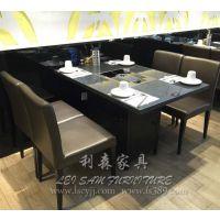 厂家供应 电磁炉专用火锅桌,大理石火锅桌,圆形四人位火锅桌