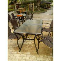 铝合金加钢化玻璃桌子 圆形桌子 休闲方形桌子 长方形桌子6004