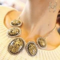 欧美复古饰品 女士豹纹椭圆形琥珀项链 女链