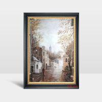 批发定制数字油画客厅装饰画 纯手绘风景油画繁华都市工艺画