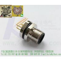 4针5孔I/O以太网M12法兰插座焊板PCB板航空插