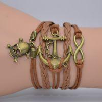 欧美外贸饰品 全新概念DIY骷髅头船锚海贼王多股亮丽皮绳编织手链