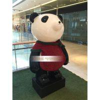 热销电影大片动物雕塑 玻璃钢熊猫雕塑 影视道具雕塑批发商业美陈