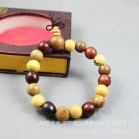 佛教三宝檀佛珠手链  黄杨木 红酸枝 绿檀 12-15mm