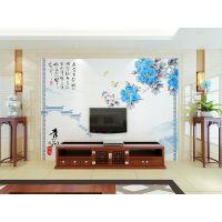 朱居家 青花 佛山瓷砖背景墙 简约现代客厅电视墙 玄关抛光砖壁画