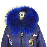 浅蓝色大毛领棒球服 欧美流行款式 冬季棉服工厂直销