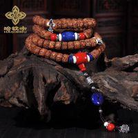 藏式尼泊尔五瓣高密度打磨 原籽金刚菩提长款佛珠手串男女款批发