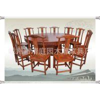 1.8m仿古实木家具 榆木 家用餐厅圆桌餐桌椅