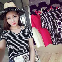 凶猛熊猫2015夏季新款时尚欧美V领短袖条纹/纯色打底衫T恤女2804
