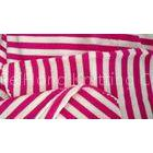 Red Poplin White Cotton Vertical Striped Fabric For Clothes / Glove / Hat / Cushion
