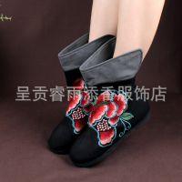 14新品 民族风单靴老北京绣花鞋千层底女布鞋内增高短靴子 黑833