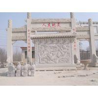 大型大理石汉白玉浮雕雕刻牌楼牌坊工艺精细造型雄伟曲阳厂家批售