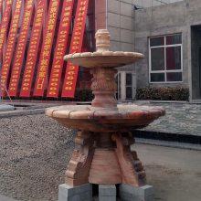 石材喷泉欧式晚霞红石雕喷泉雕刻设计安装