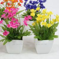 迷尔小盆景 B8180-盆景水仙 黄色 绢花 仿真 假花 小盆栽