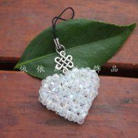 diy手工串珠材料包 水晶心心相印情侣手机链 心型串珠挂件