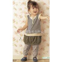 满包邮山东青岛厂家直销春夏新款裙裤 日单假两件儿童裙裤批发