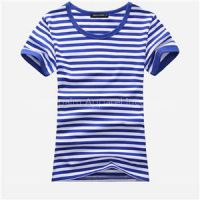 100% Cotton Short Sleeve Striped Yarn Dyed T Shirt For Women