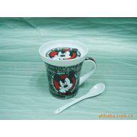 迪士尼咖啡杯 小额混批 卡通杯 带盖陶瓷杯