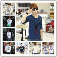厂家直销2014秋装新款 韩版修身圆领打底衫男 纯棉长袖男式T恤