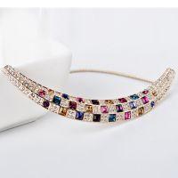 盛世佩珍项链400433  雕刻时光奢华女王范方格子水晶颈链礼服配饰