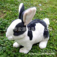 定制卡通兔子仿真动物兔 毛绒玩具兔子公仔 高档逼真花身兔子动物