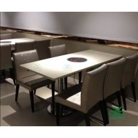 四、六人位大理石火锅餐桌组合 火锅餐饮桌子一体化批发 运达来餐桌厂家