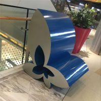 玻璃钢创意蝴蝶花造型休闲椅 商场装饰美陈休息座椅