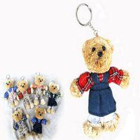 27519家庭装饰品工艺品批发  草编小熊动物钥匙环挂件 专业厂家