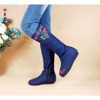 复古风千层底内增高长筒侧拉链布靴子 简单大方绣花冬靴棉靴