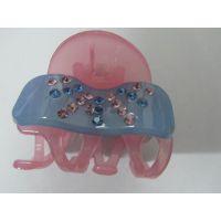 粉色果冻发抓夹 亚克力透明镶钻精美发夹 外贸出口高档发饰批发