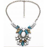 RN002  欧美复古镶钻合金项链 简约花朵项链批发 厂家直销