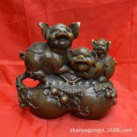 厂家直销 纯铜富贵吉祥葫芦生肖猪工艺品家居饰品摆件