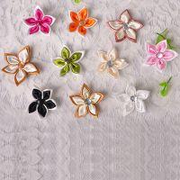 现货直销双色五角加钻手工小花 缎带小花 织带小花免费拿样