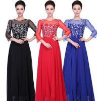 艺晨舞悦合唱演出服装定制新款七分袖礼服合唱服女士合唱服
