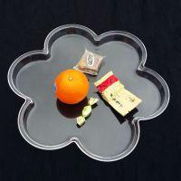 供应新款压克力水果盘 花朵型零食盘 亚克力透明水晶塑料水果盘