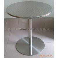 不锈钢桌子高档西餐厅圆桌现代外阳台小桌子超稳固亮光色圆桌子