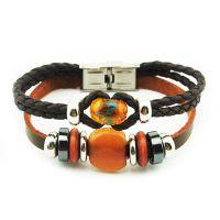 异域复古编织手链 琉璃串珠真皮手链 外贸货源 R1052