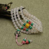 天然白玛瑙108颗佛珠手链 绿松石藏银隔珠 原创新款