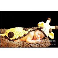 小鹿 连体 毛线手工欧美新生儿摄影服装婴幼儿造型105g