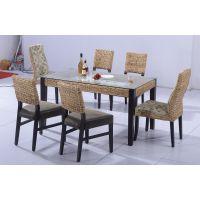 水草藤编餐桌椅套件 餐厅家具 无扶手餐椅 玻璃台面餐台 石头餐台