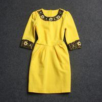 欧洲站秋冬新款女装 优雅重工花朵钉珠圆领修身连衣裙 Y372A