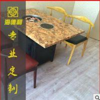 古典中式火锅桌 方形大理石火锅店桌子 4人位餐桌椅 欢迎致电