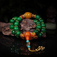 DIY饰品材料配件 藏式三通手链 民族风18颗绿松石佛珠手链批发