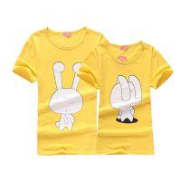 厂家批发2014夏季新款韩国卡通情侣装 短袖印花男女T恤衫套装